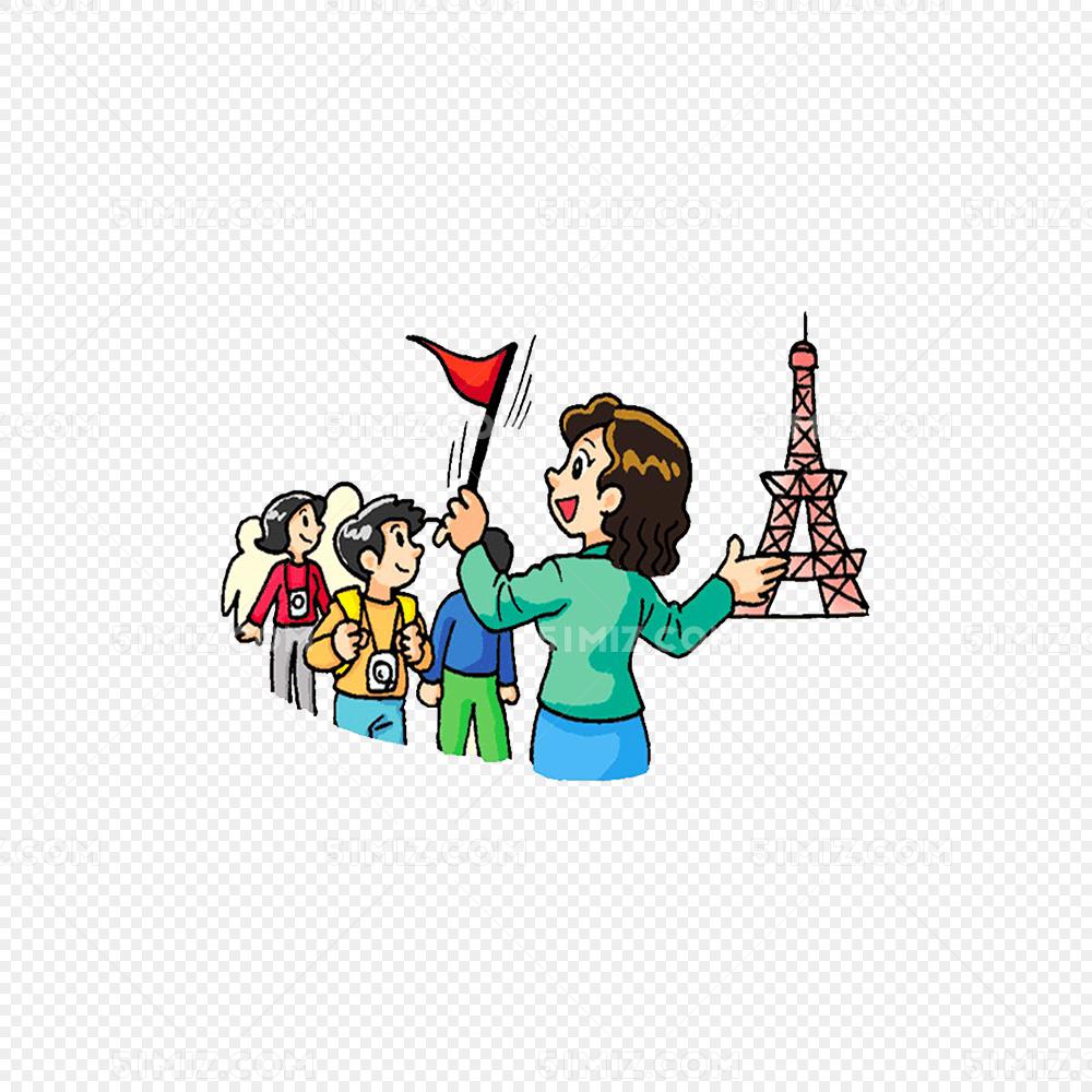 红色三角导游旗和旅行团免费下载_png素材_觅知网