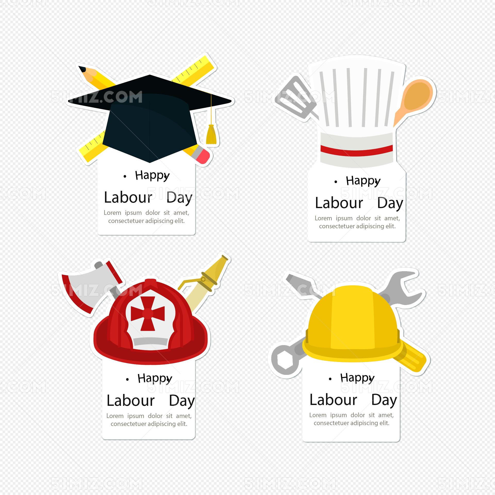 4款创意劳动节帽子标签矢量图免费下载 木勺 消防员帽 消防斧 消防
