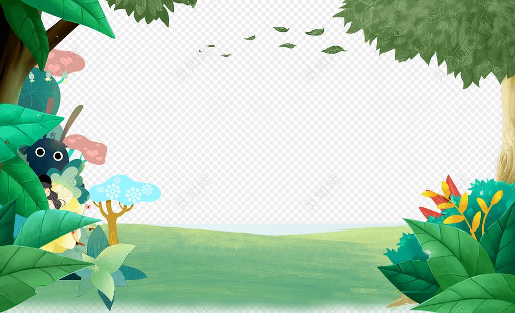 绿色卡通森林促销海报背景免费下载_png素材_觅知网