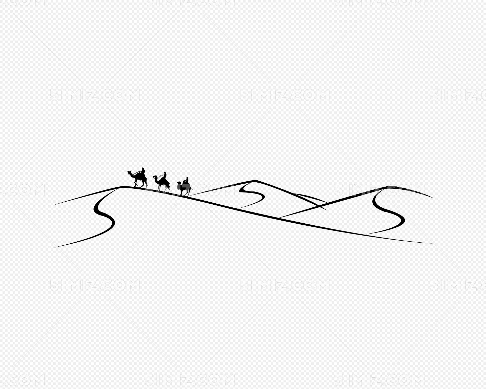 走在沙漠里的骆驼简笔画