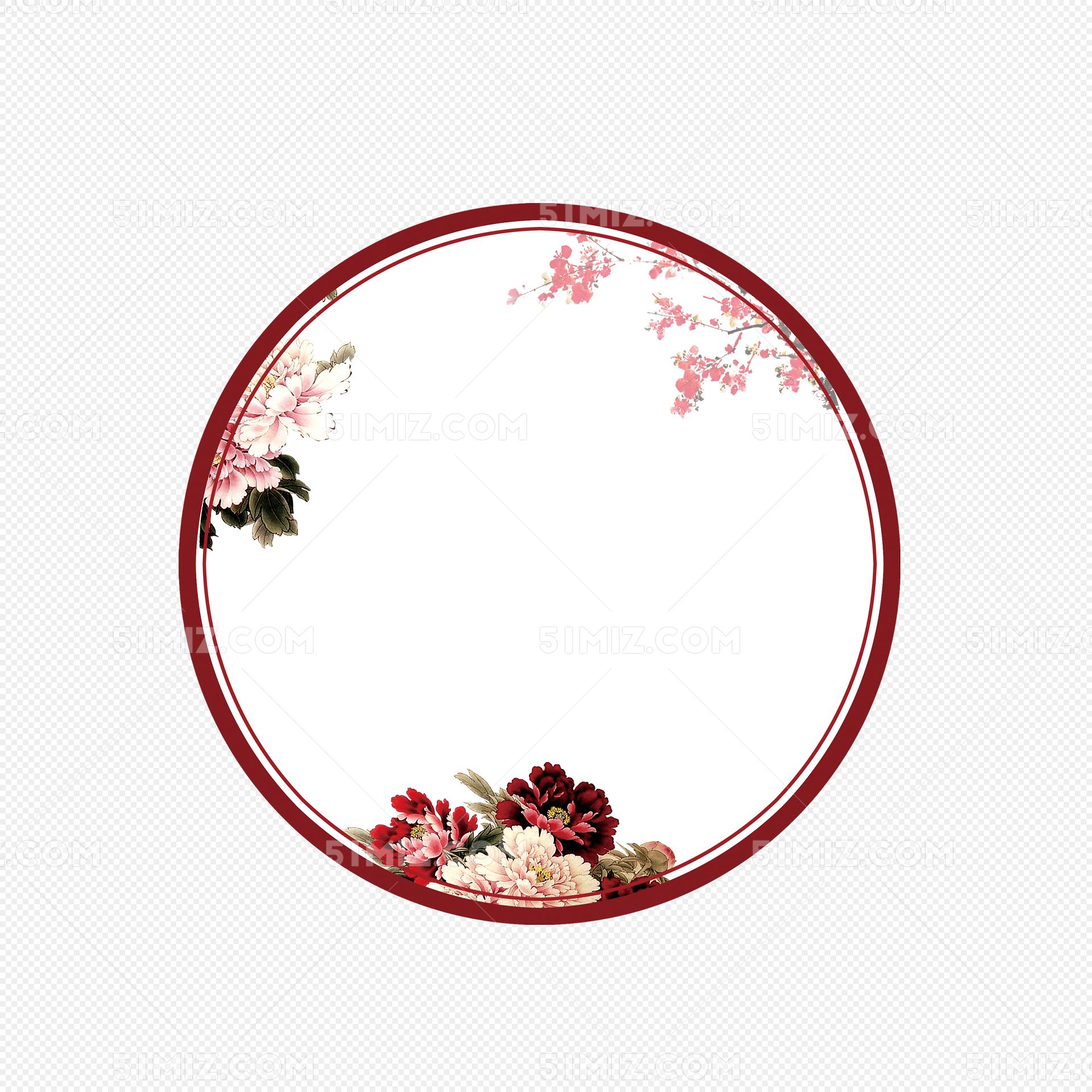 古典中国风圆形边框屏风图片素材免费下载_觅知网