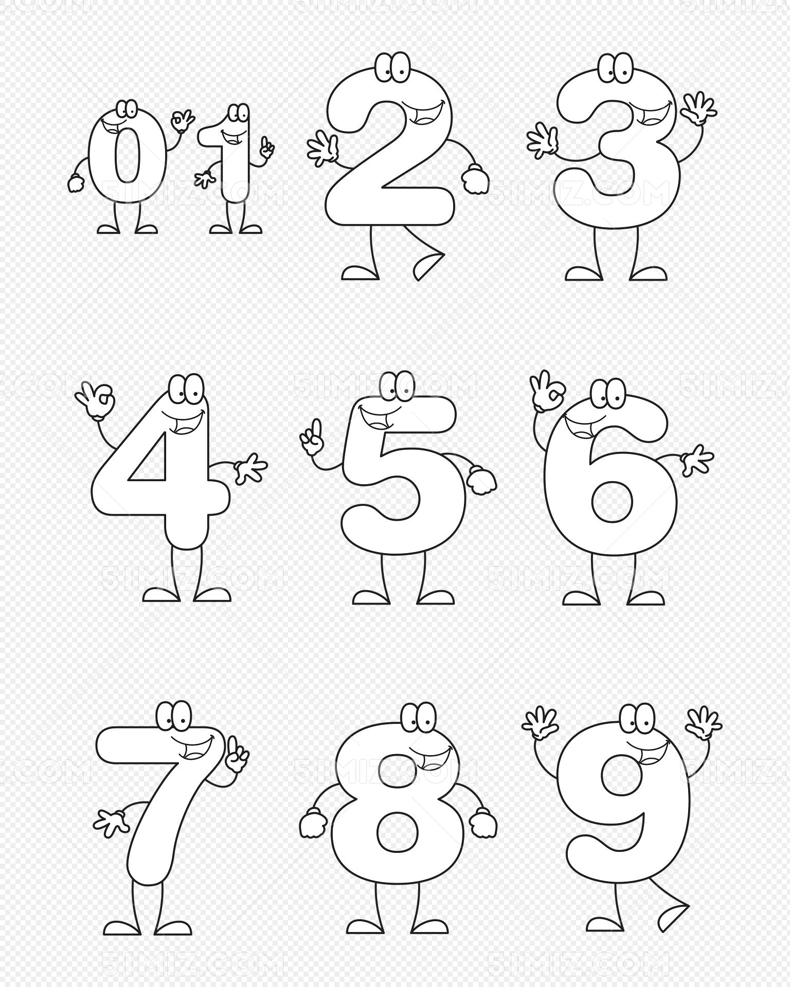 0-9数字创意简笔画可爱数字矢量图形