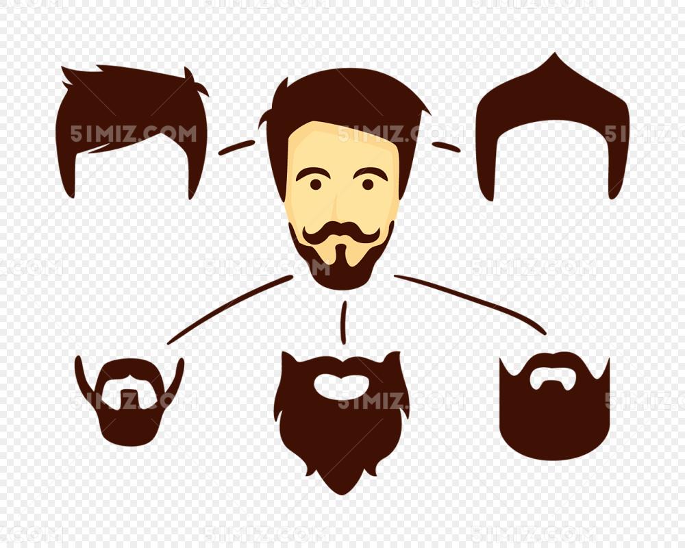 男士头发胡子矢量素材