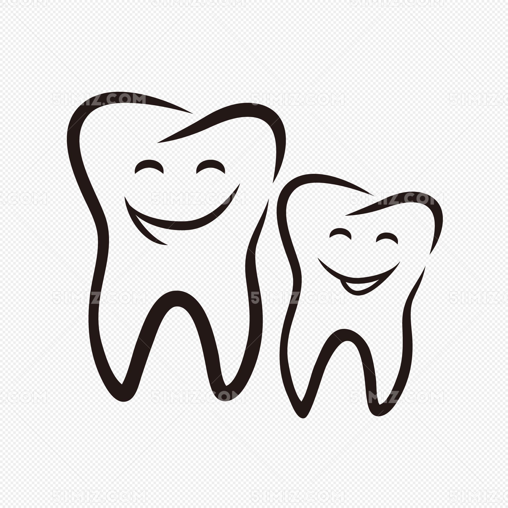 手绘可爱卡通笑脸牙齿图片