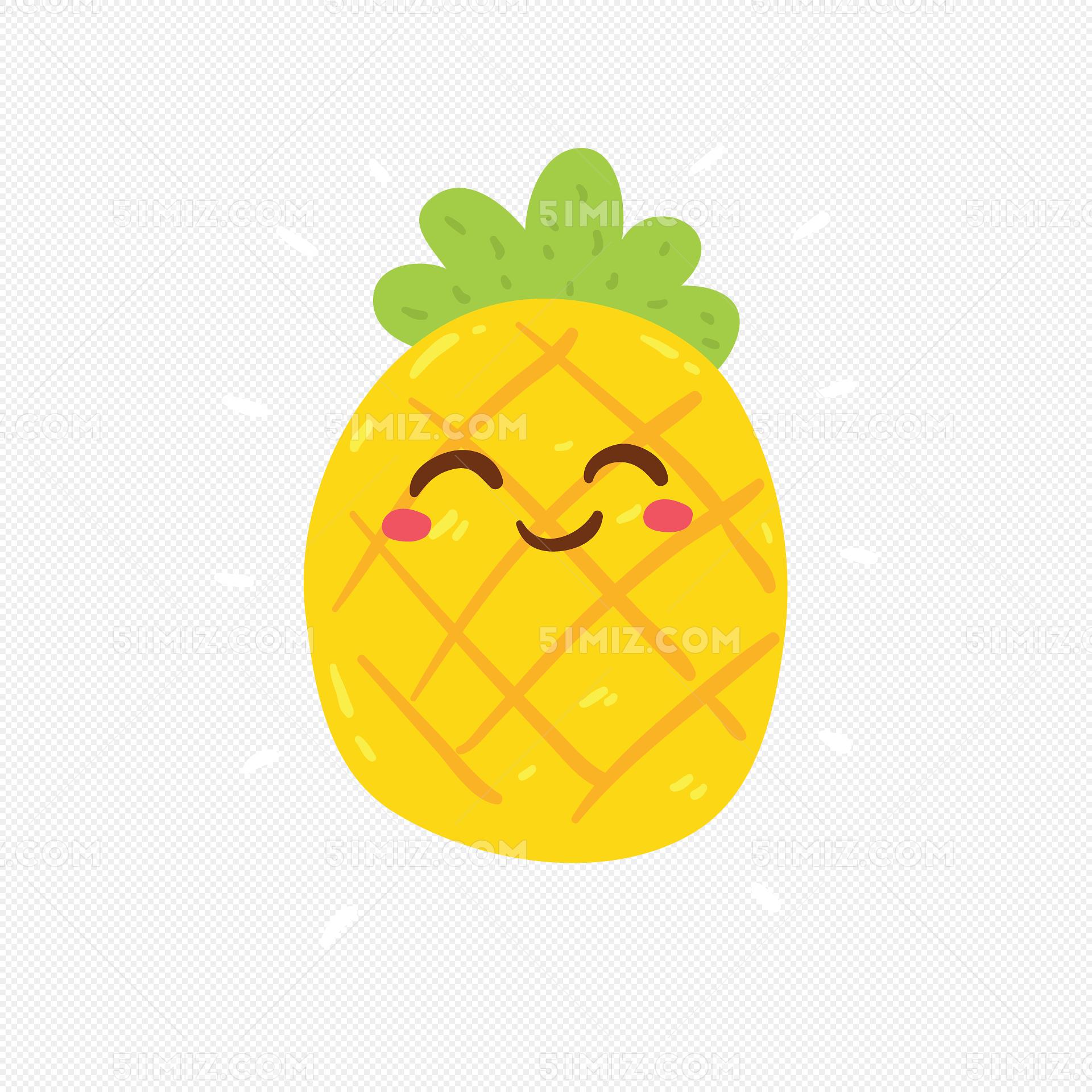 你好夏天卡通菠萝图片素材免费下载_觅知网