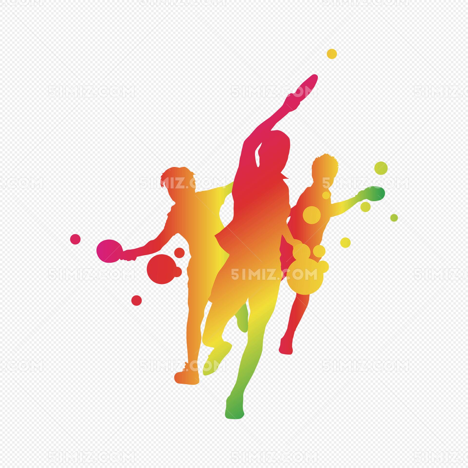 乒乓球人物剪影图片素材免费下载_觅知网