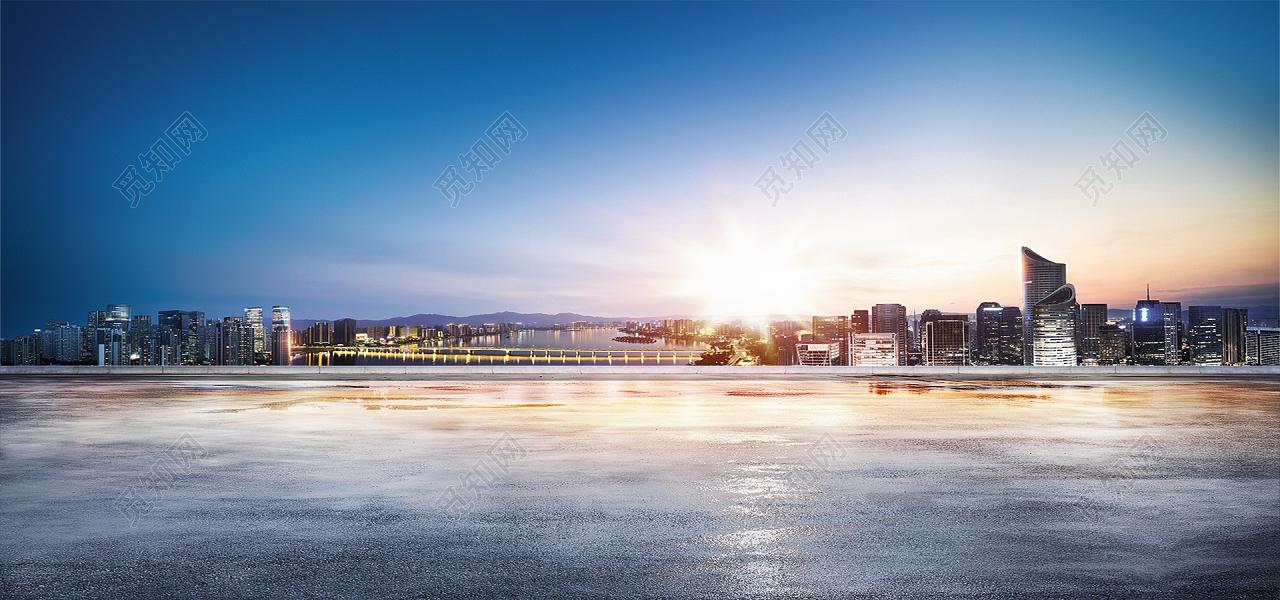 公路城市大气商务蓝色淘宝海报背景图片