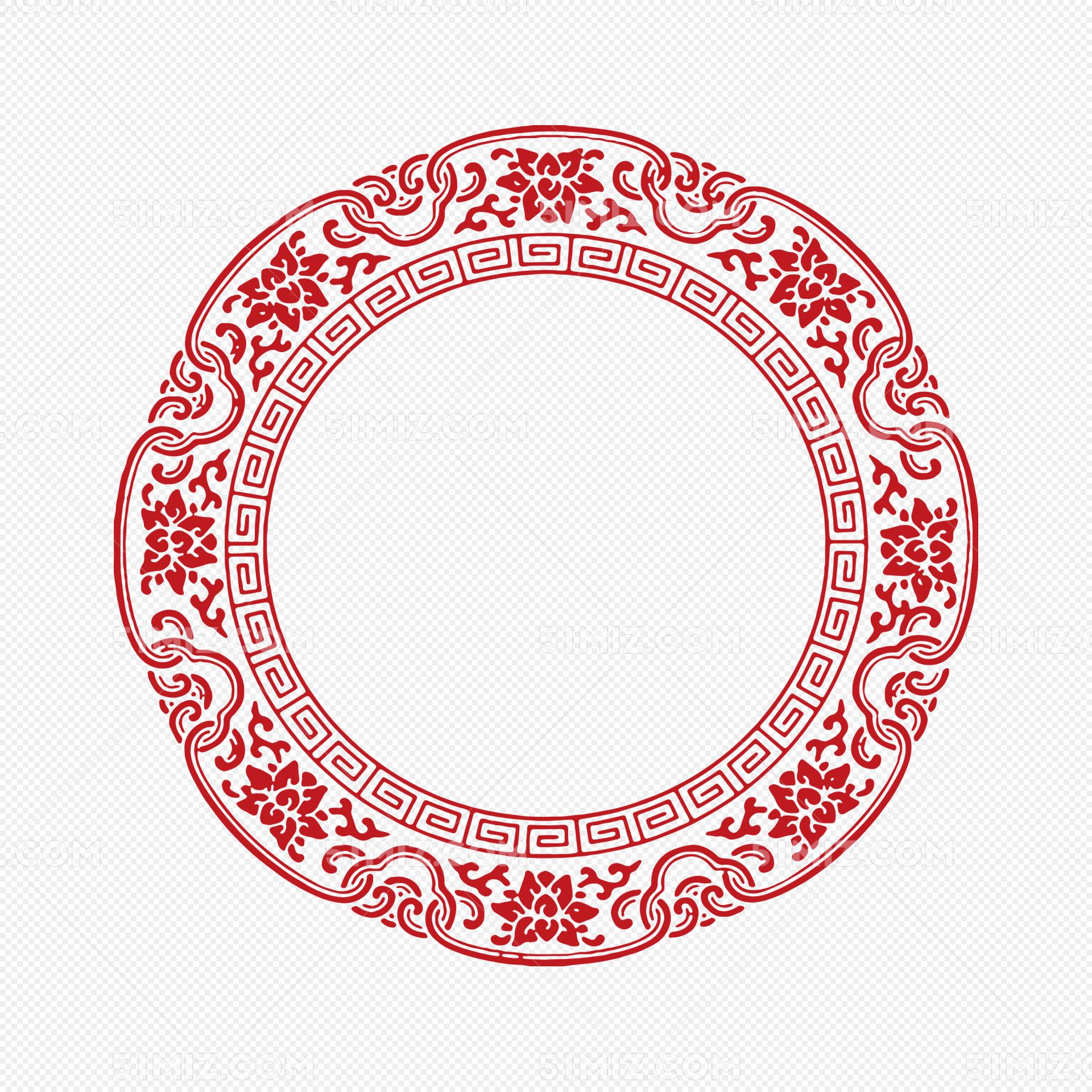 红色中国风花纹圆圈