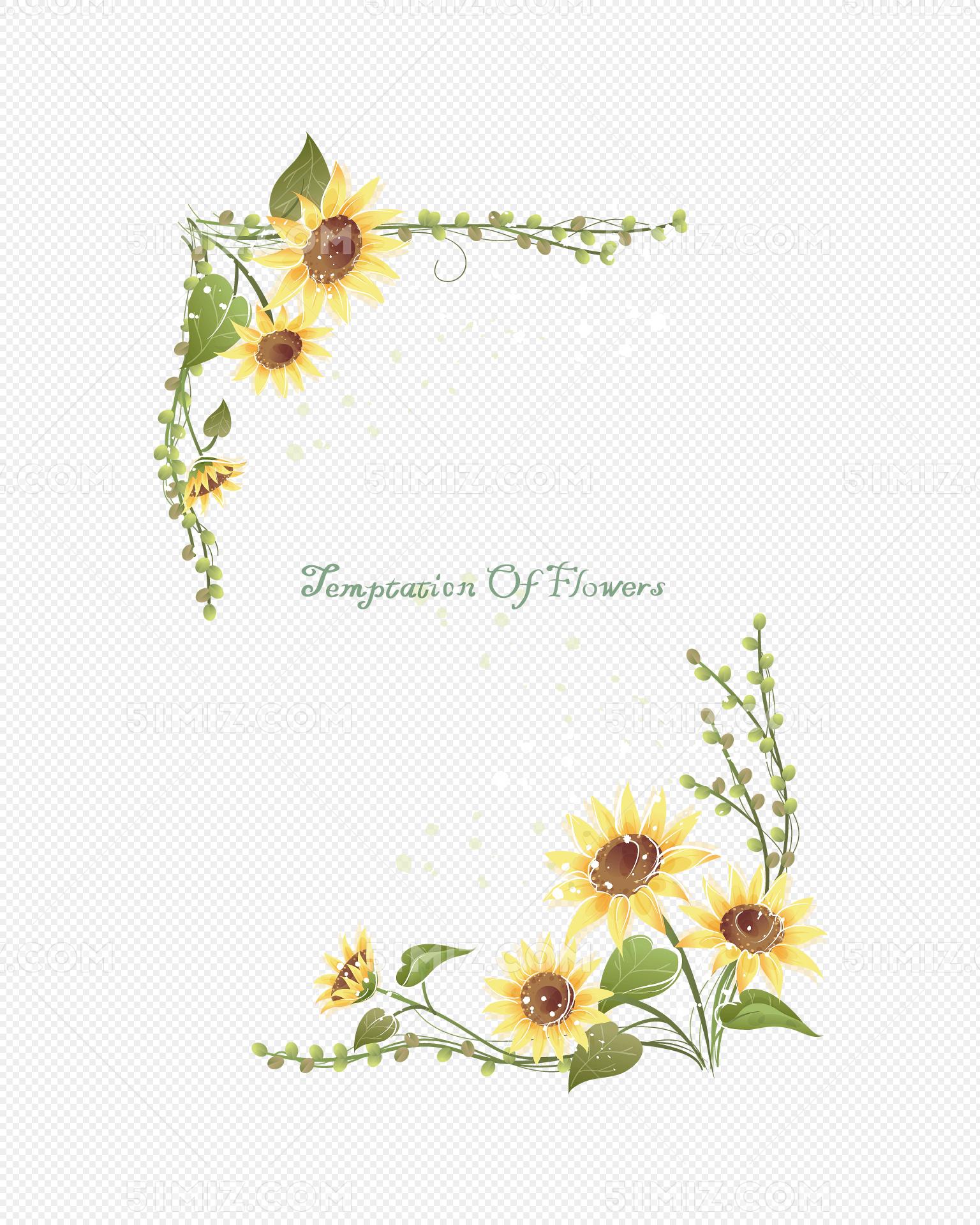 矢量韩式向日葵花边框