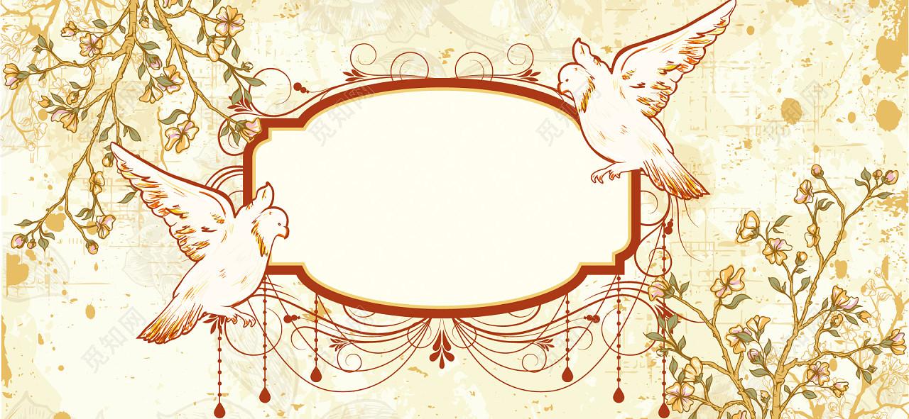 手绘中国风小鸟树枝花纹背景banner