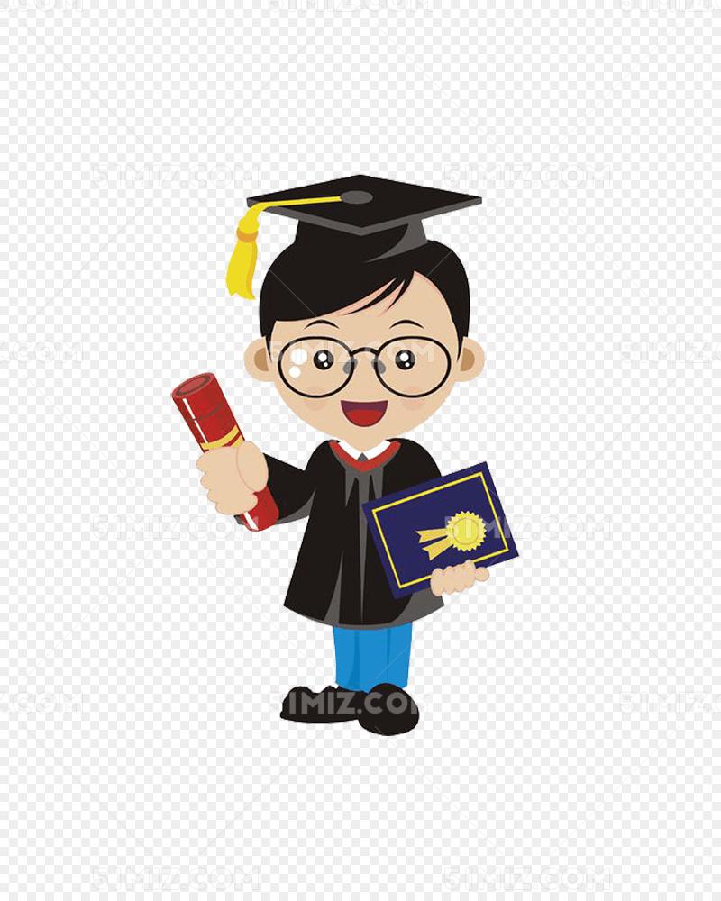 卡通穿学士服毕业的大学生图片
