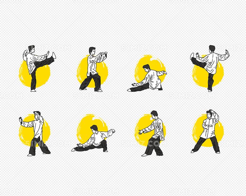 中国太极拳人物动作分解矢量图