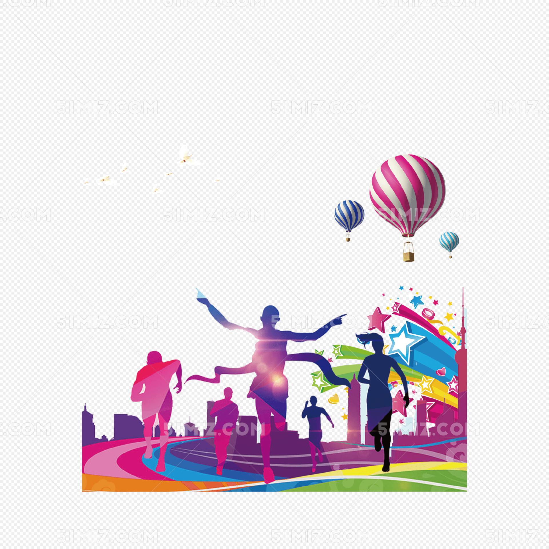 彩色青年运动会人物剪影图片素材免费下载_觅知网