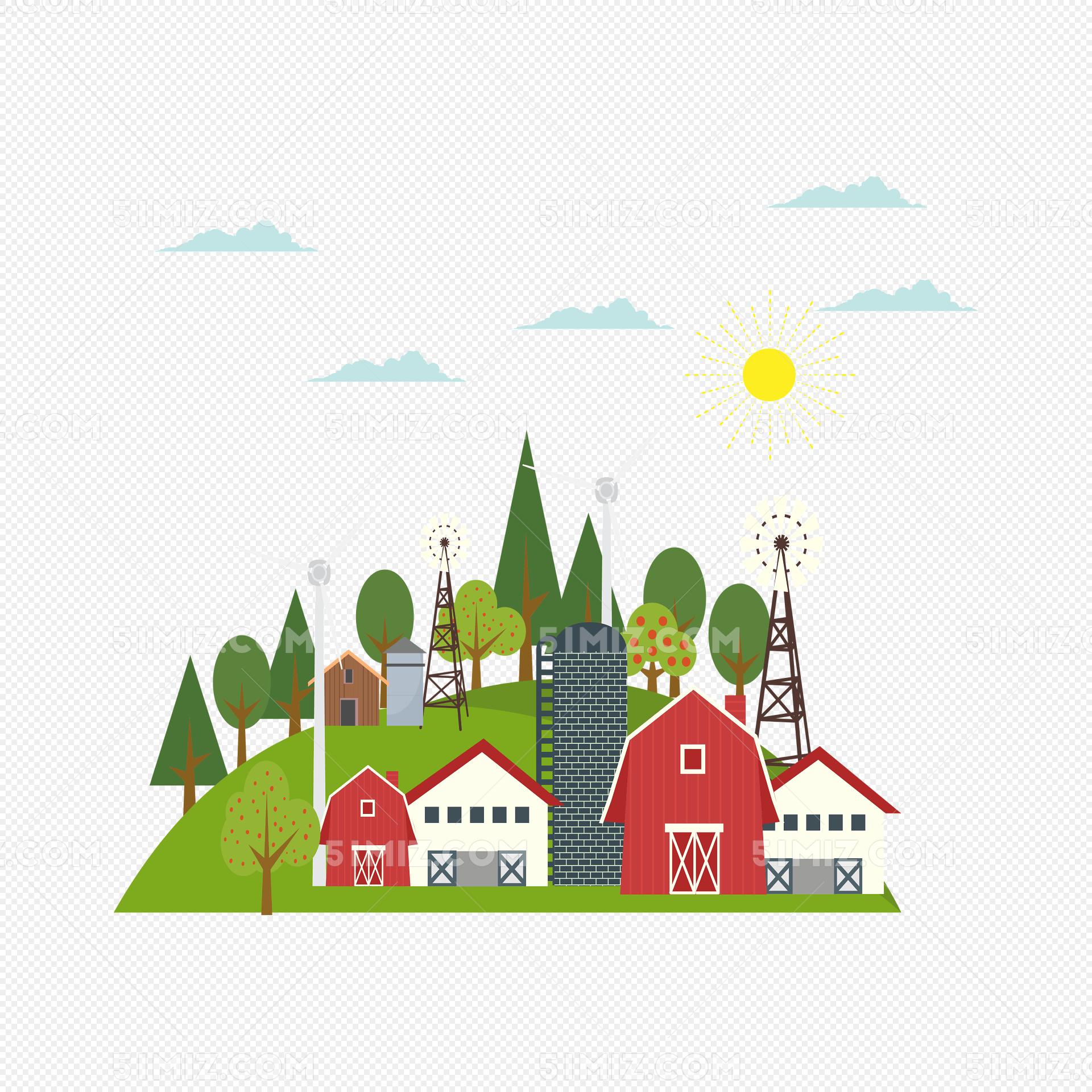 阳光下的乡村房屋卡通矢量图
