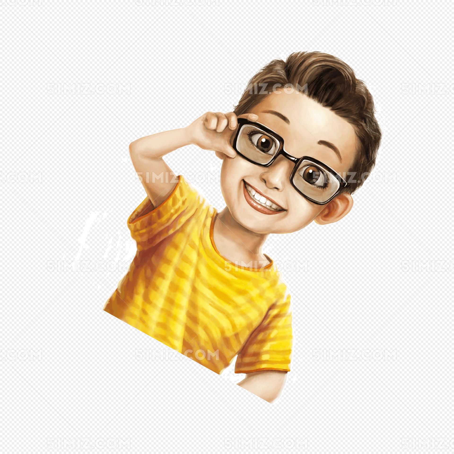 可爱手绘戴眼镜的学生