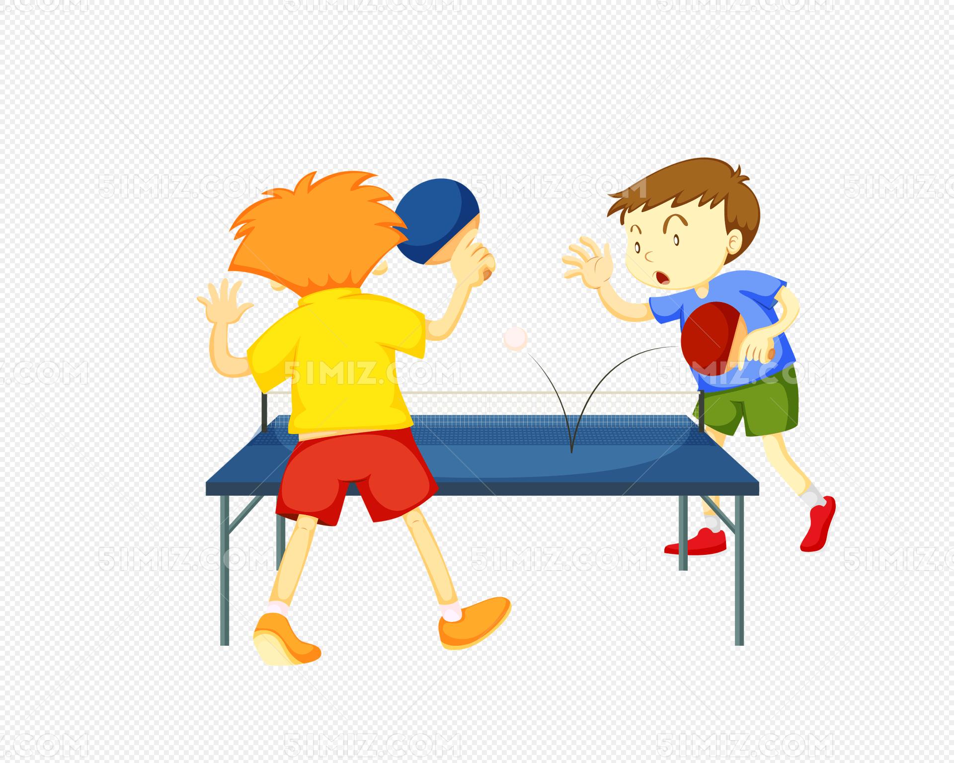 矢量卡通手繪校園乒乓球運動會