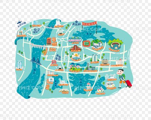 手绘武汉旅游地图