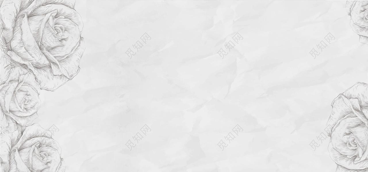 玫瑰花手绘灰色文具banner背景