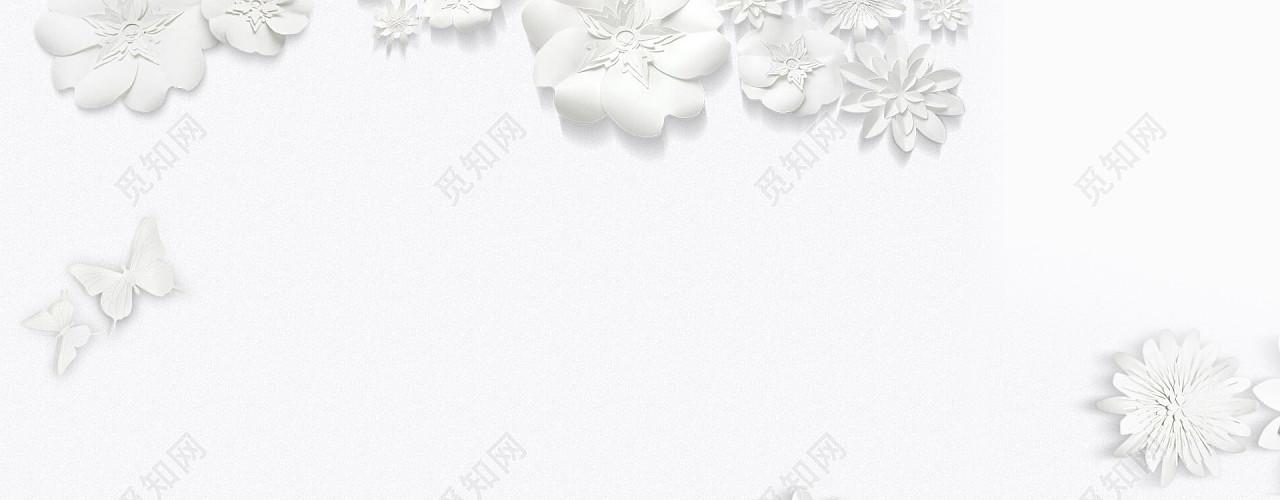 珠宝化妆品唯美浪漫白色海报背景
