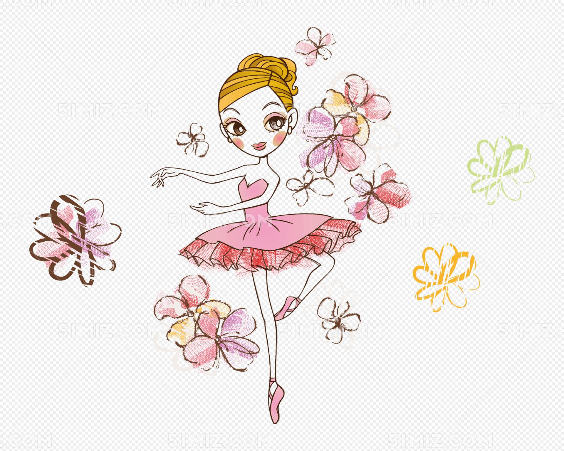 手绘矢量跳舞的女孩图片素材免费下载_觅知网