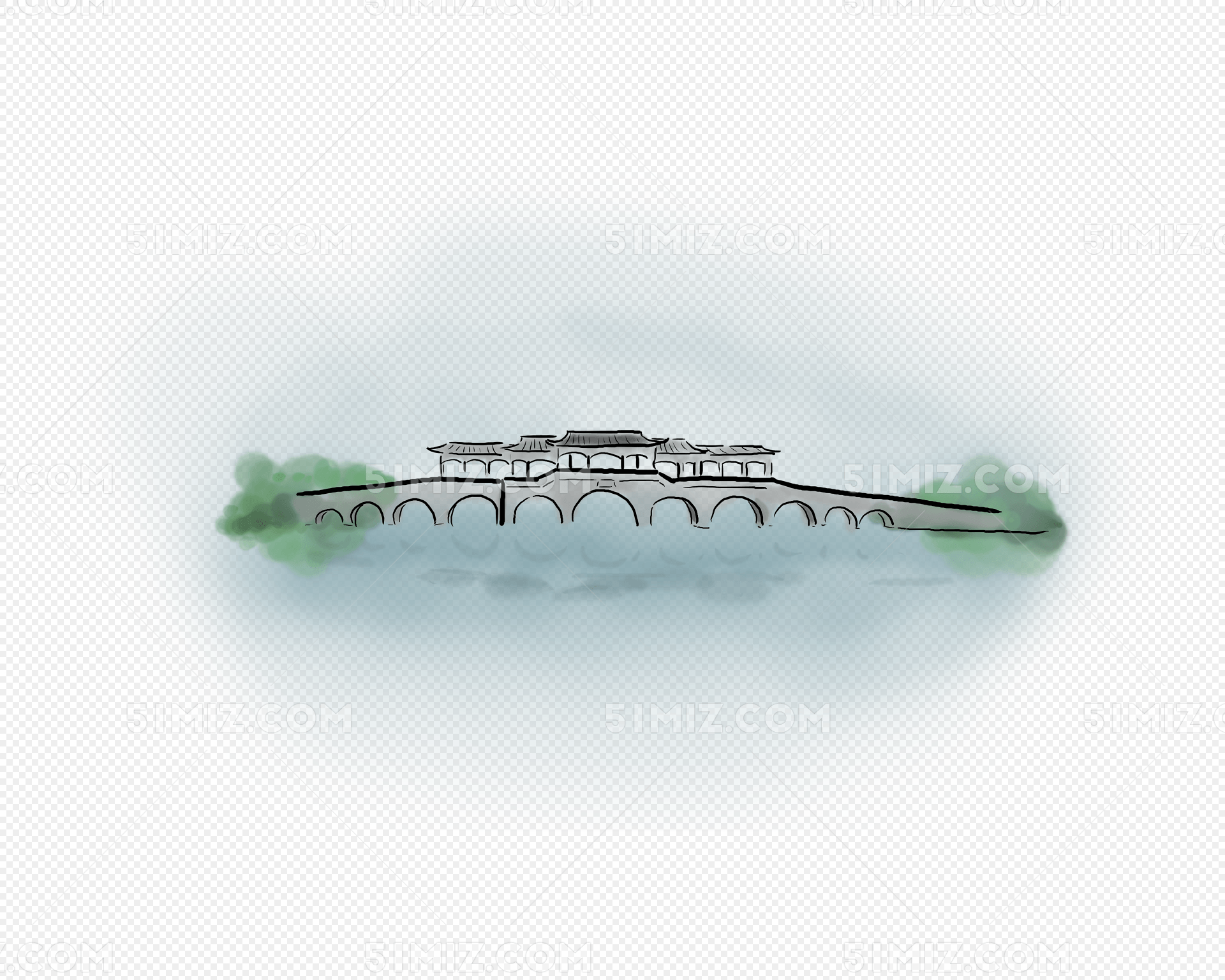 暑假游玩手绘古桥图片素材免费下载_觅知网
