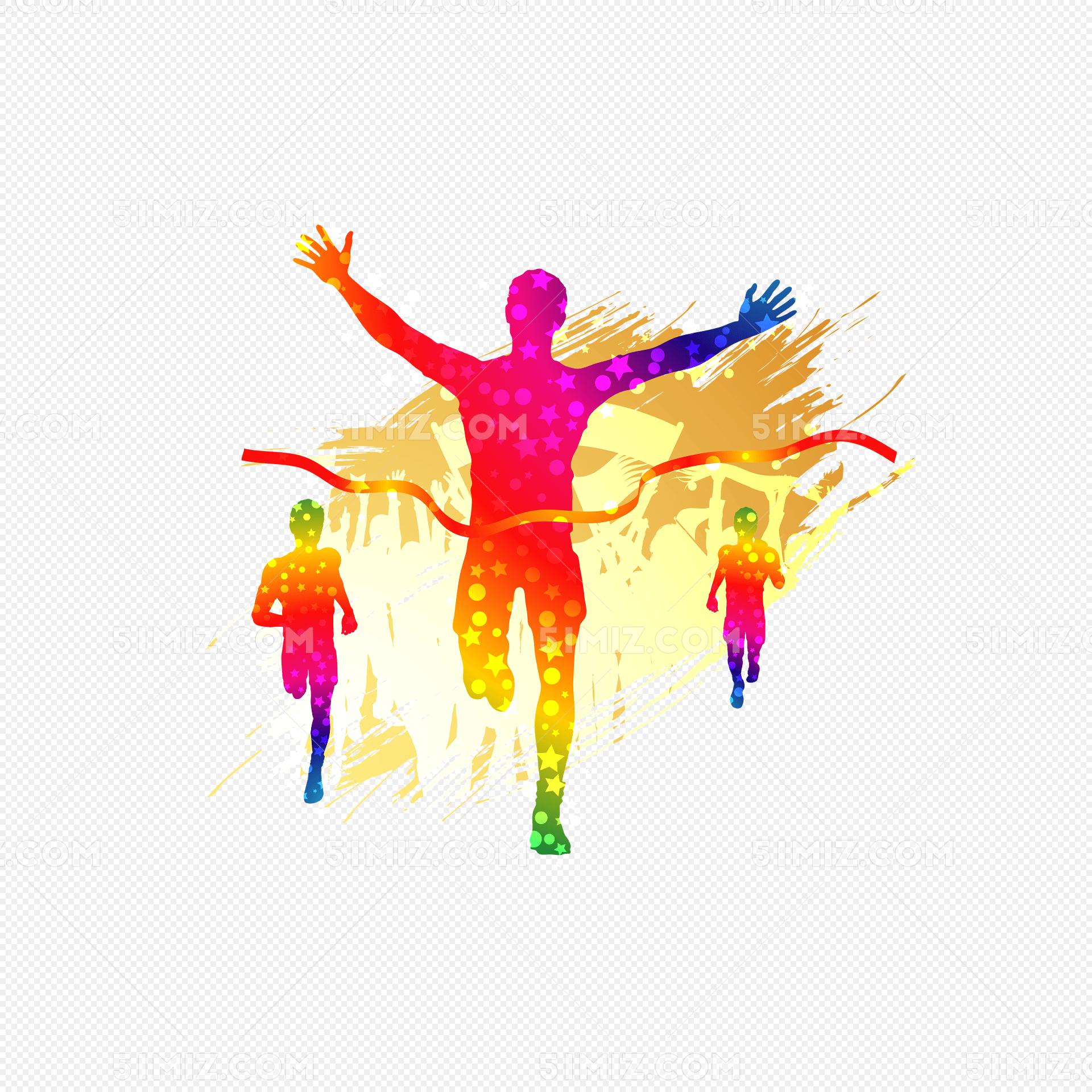 多彩卡通运动员冲刺免抠矢量图标签:运动员 百米冲刺 胜利 比赛 撞线