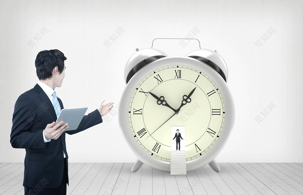 闹钟与商务男士背景素材