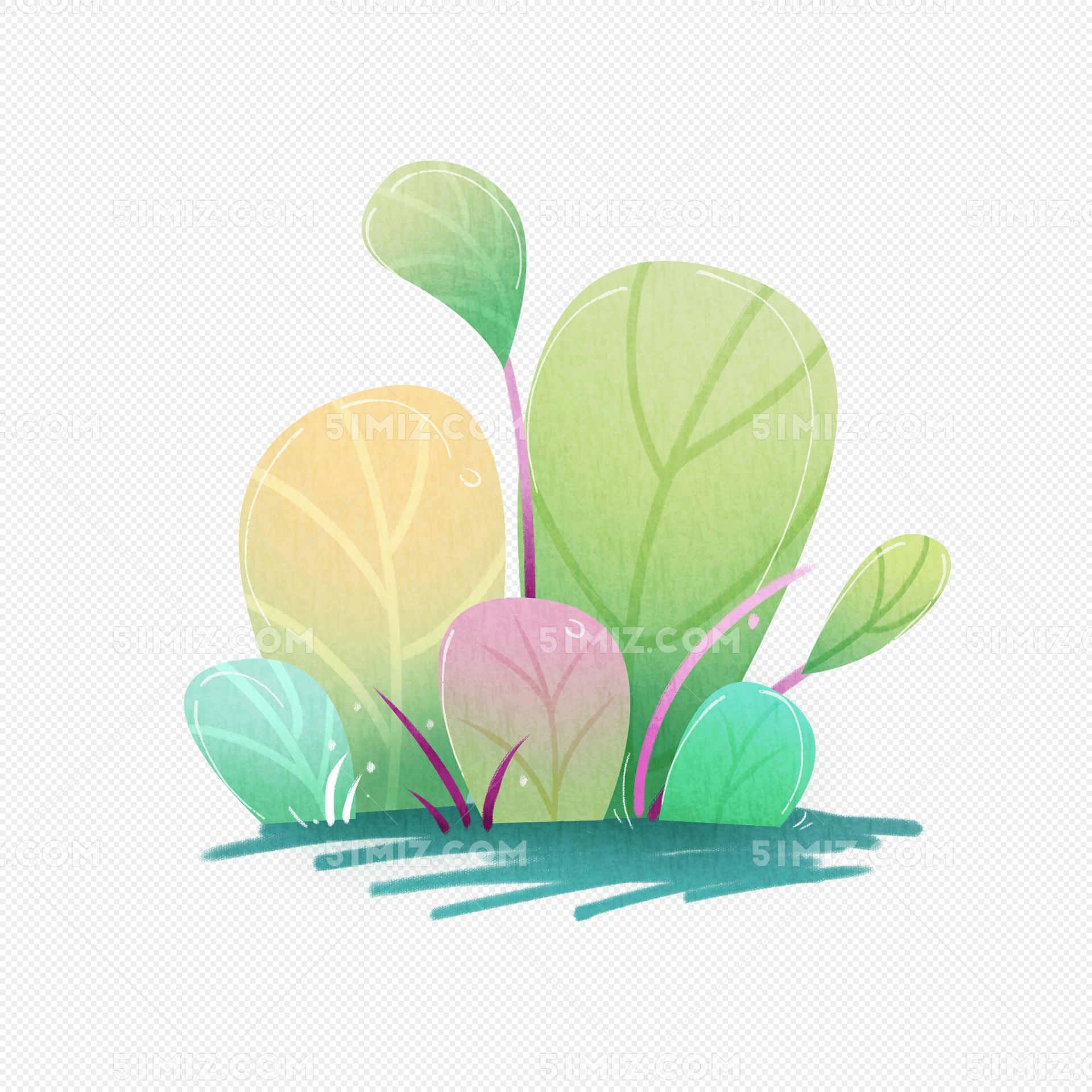 手绘简约扁平风植物叶子免费下载_png素材_觅知网