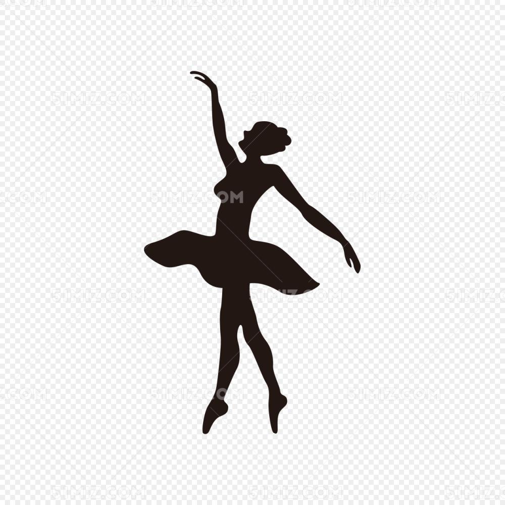 舞天鹅_天鹅舞女性舞者剪影矢量
