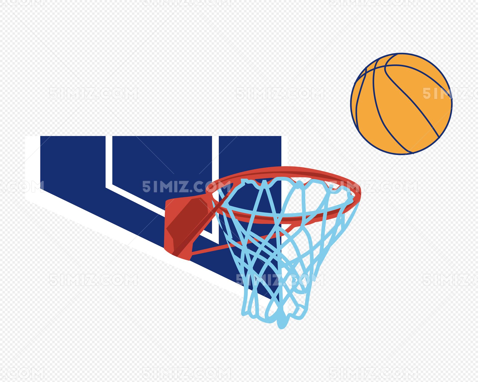 手绘篮球比赛篮板篮筐矢量插图