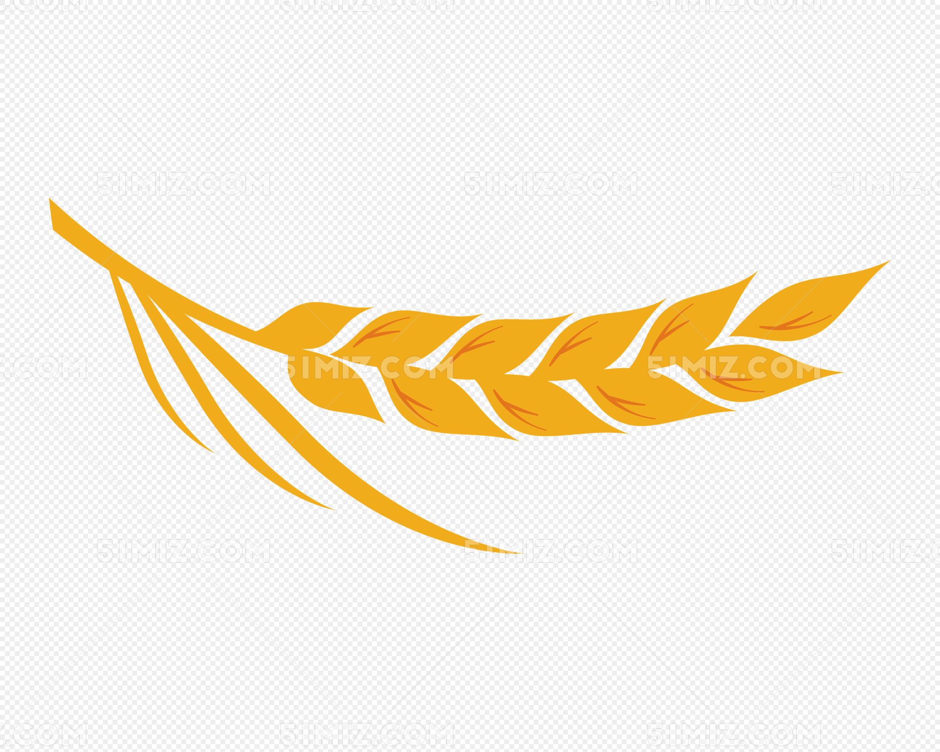 卡通金色麦穗农作物矢量图