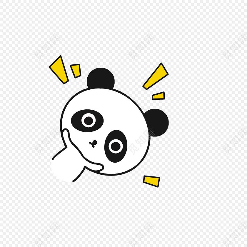 小清新动物手绘可爱熊猫png