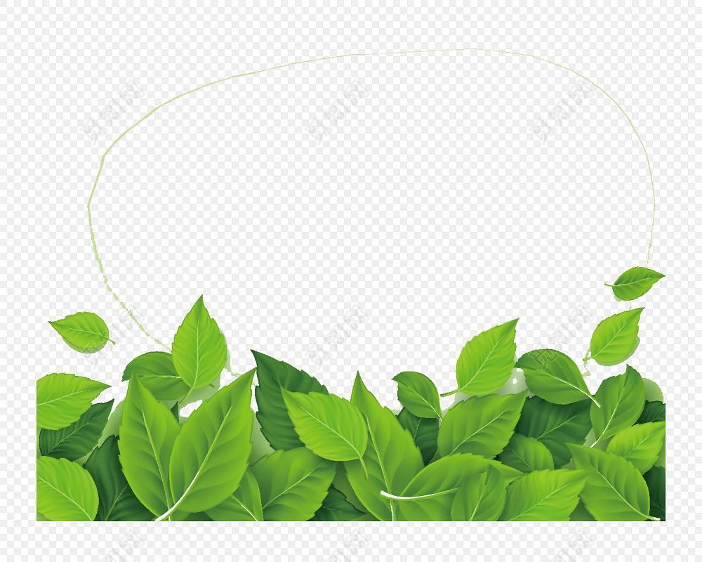 精美绿叶花纹边框设计矢量素材