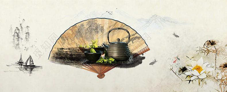中国风山水画折扇茶叶详情页海报背景