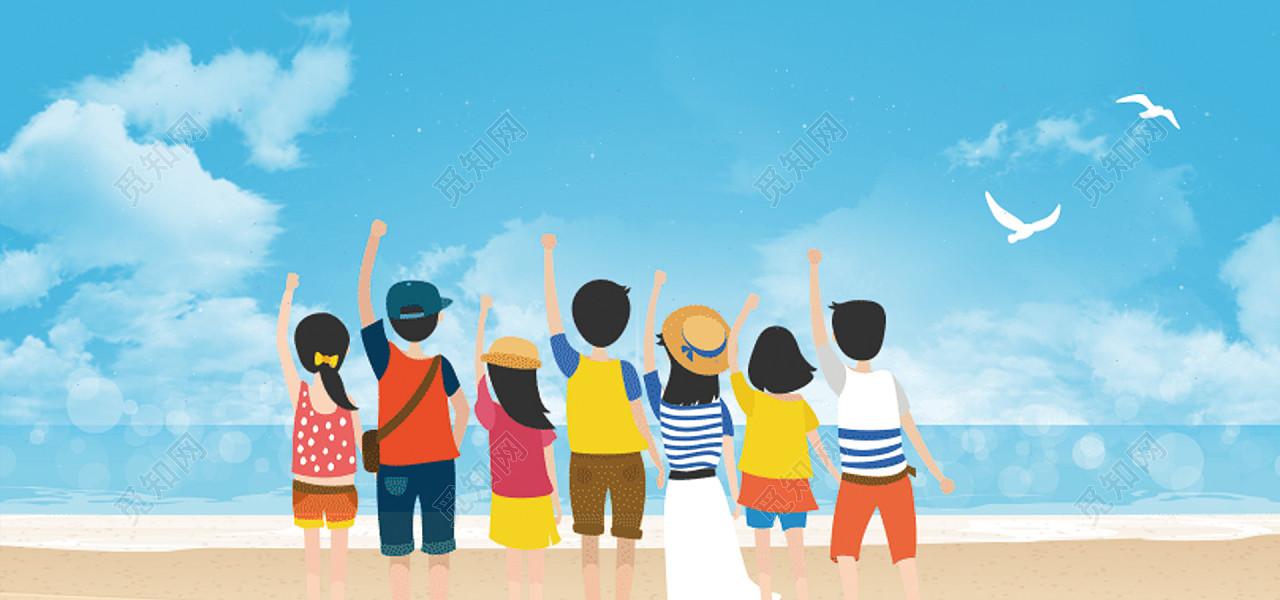 五四青少年青春卡通童趣蓝色动漫风背景图片