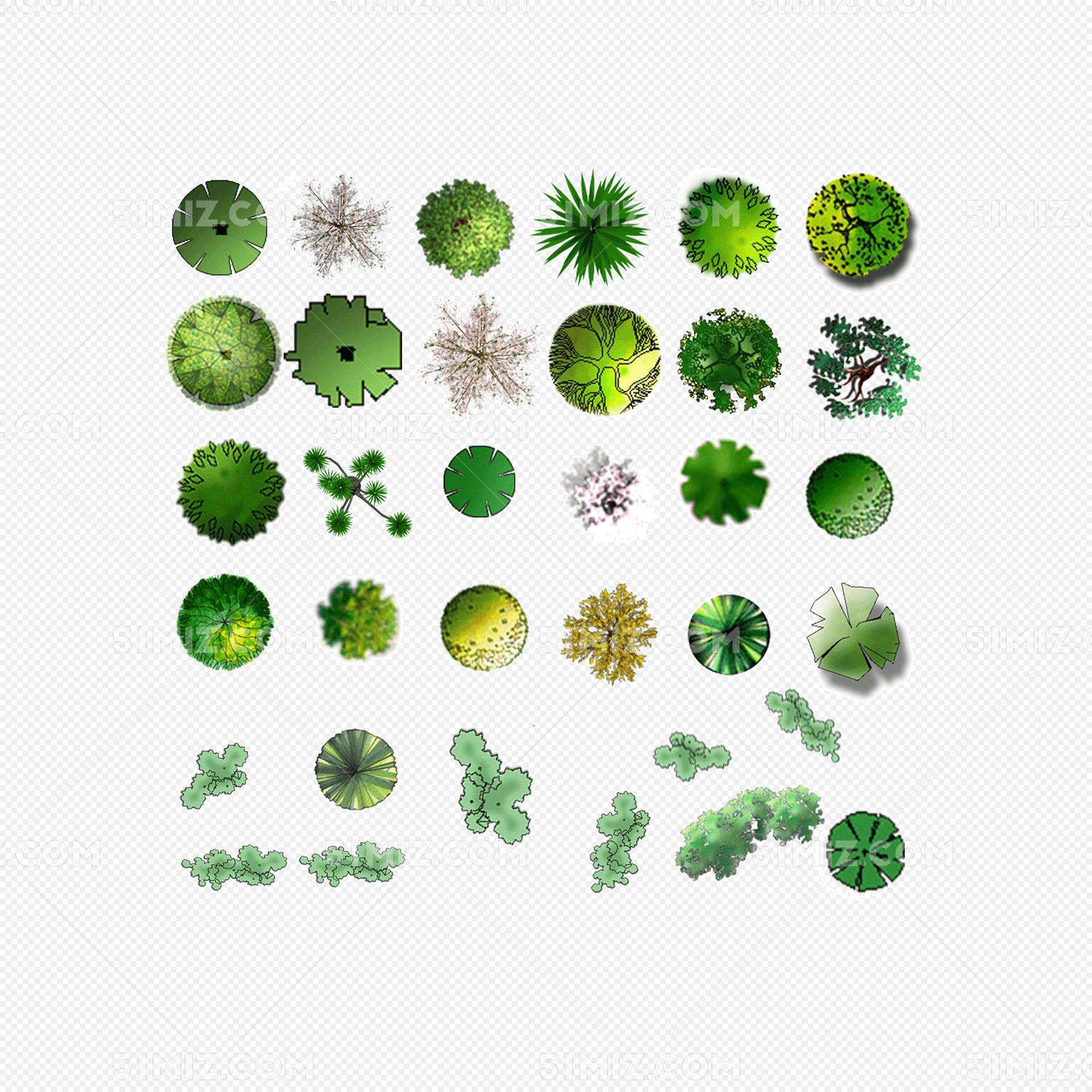 绿色景观平面树psd素材
