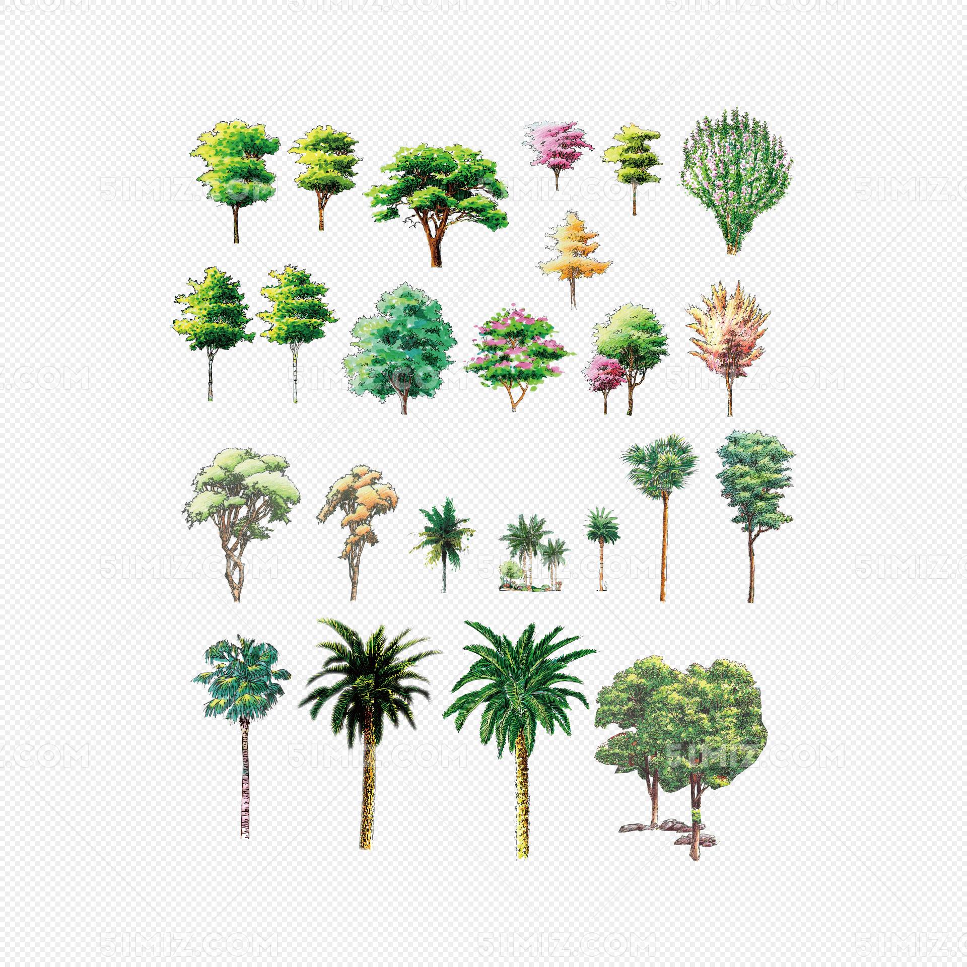 立面树园林绿化手绘平面树素材