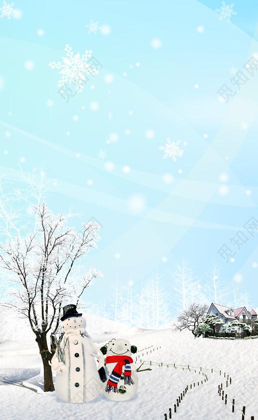 手绘小清新雪地雪人冬天冬季大雪小雪海报背景素材