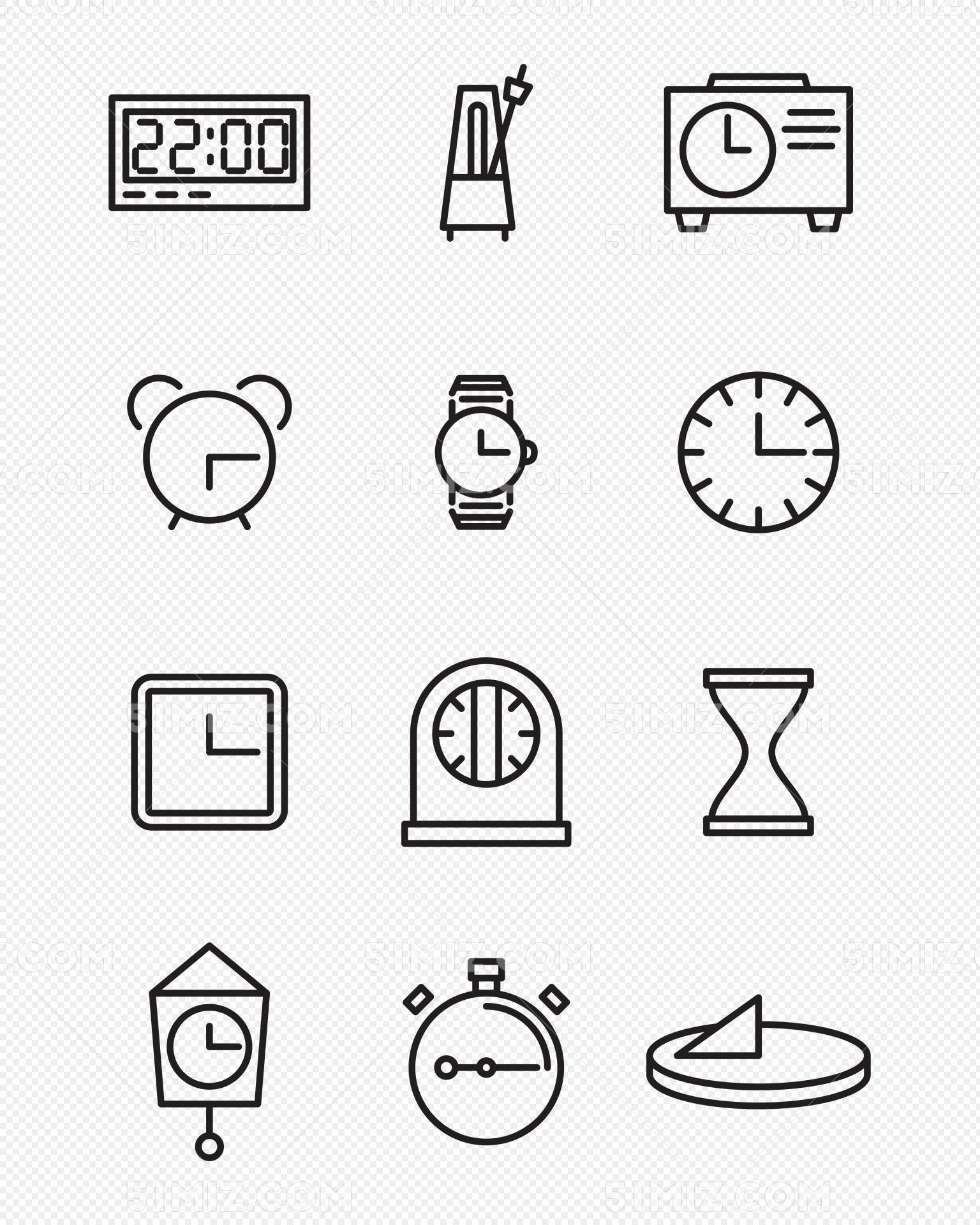 时间钟表简笔画矢量图形时间图标素材