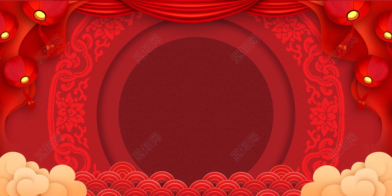 红色喜庆2019猪年新年背景素材年会舞台背景