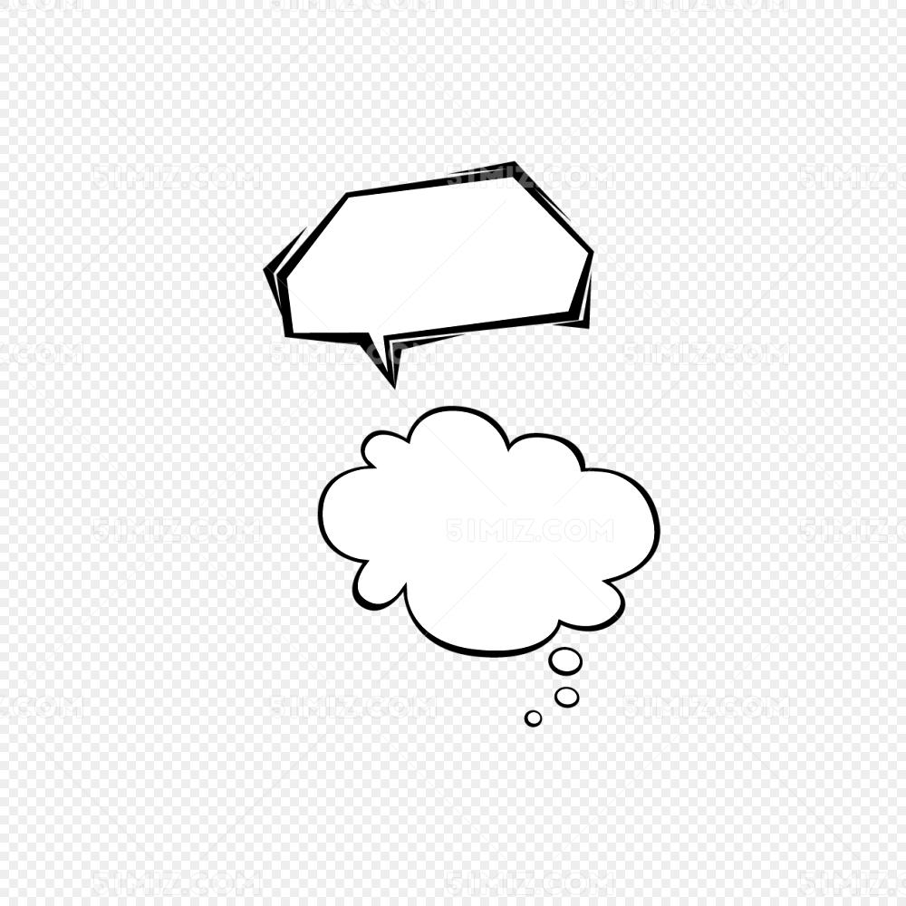 黑白云文字气泡免费下载 文字边框 矢量 简单