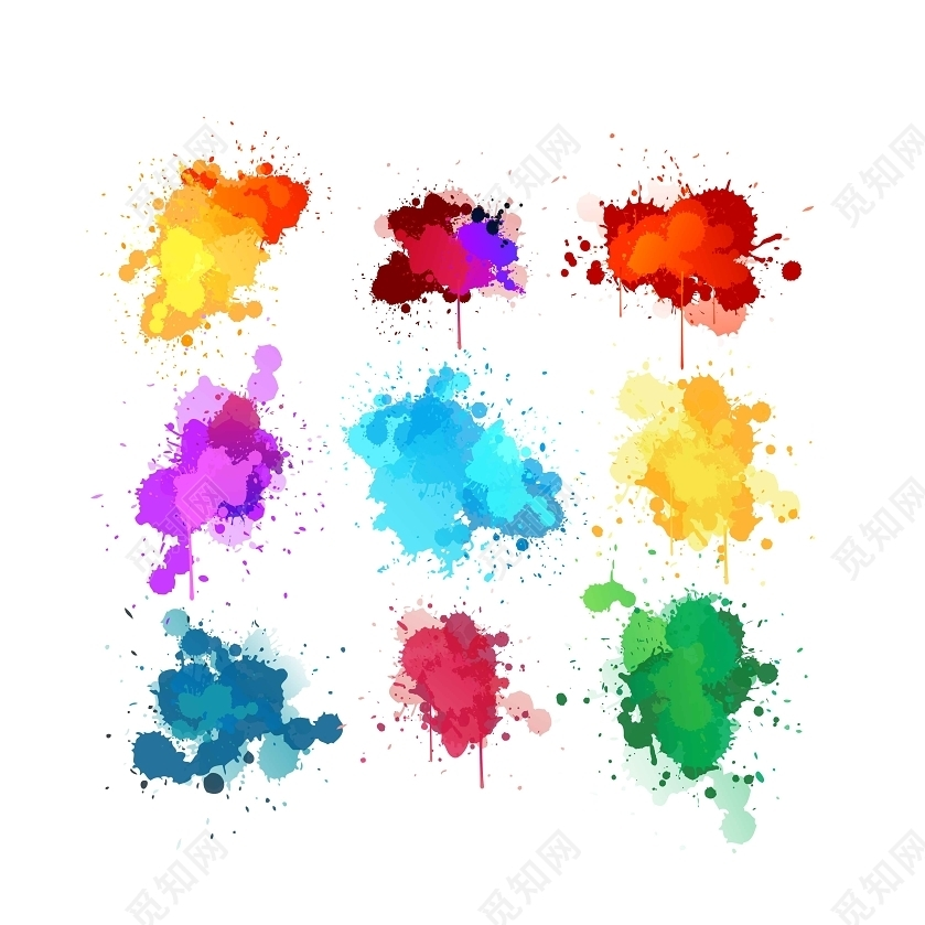 彩色水彩渐变笔刷免费下载_png素材_觅知网