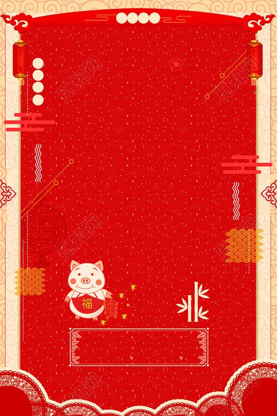 黄色边框红色简约小猪2019猪年元旦新年海报背景