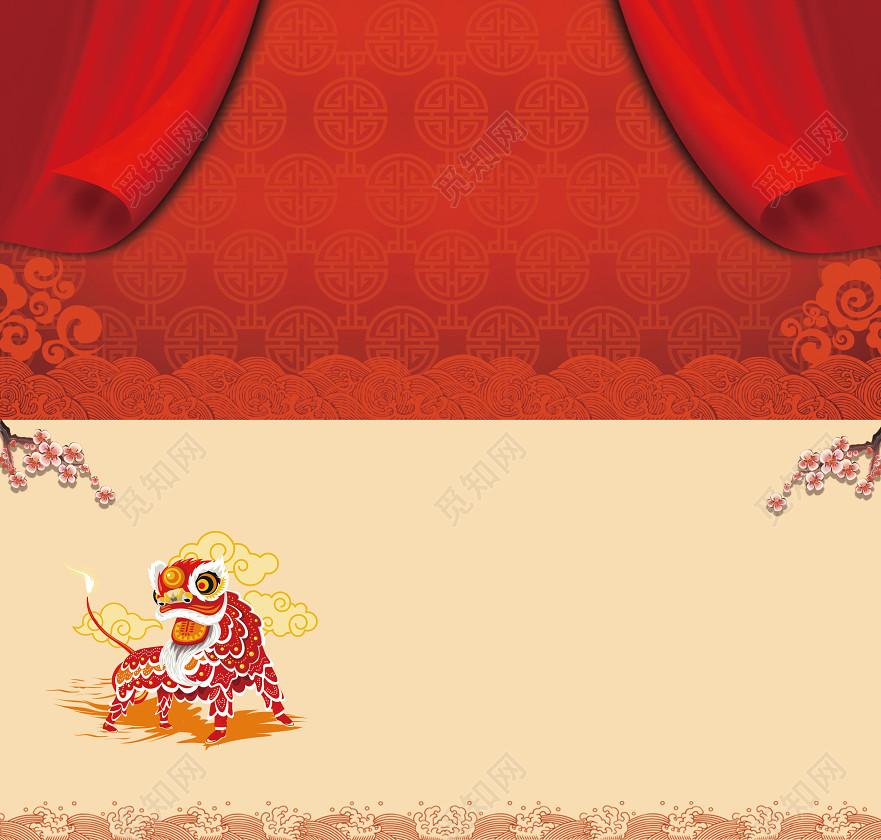 新年猪年新年贺卡海报背景标签:顺顺利利 红红火火大吉大利贺新年贺岁图片