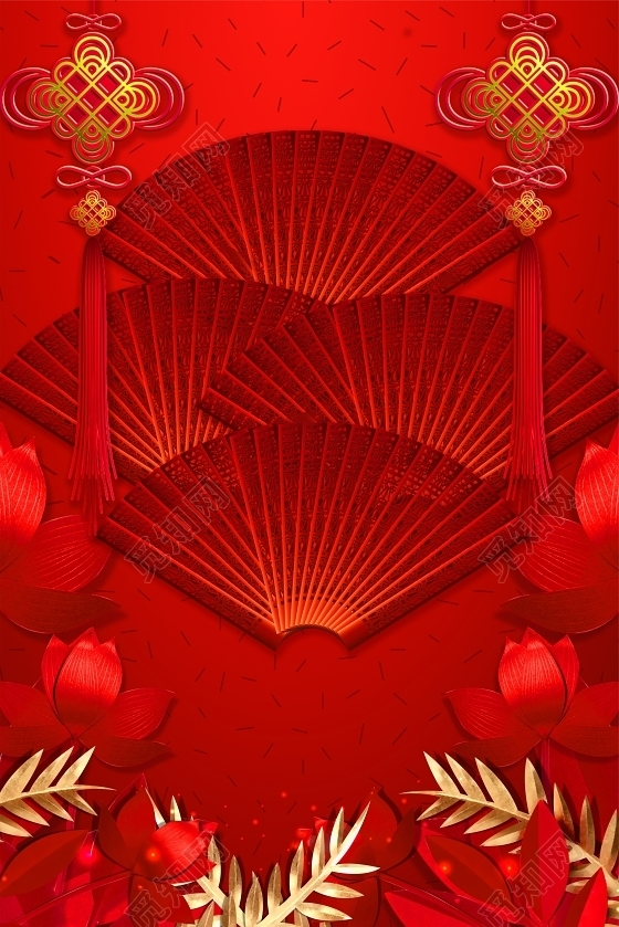 中国风2019新年大年初一猪年春节红色喜庆海报背景