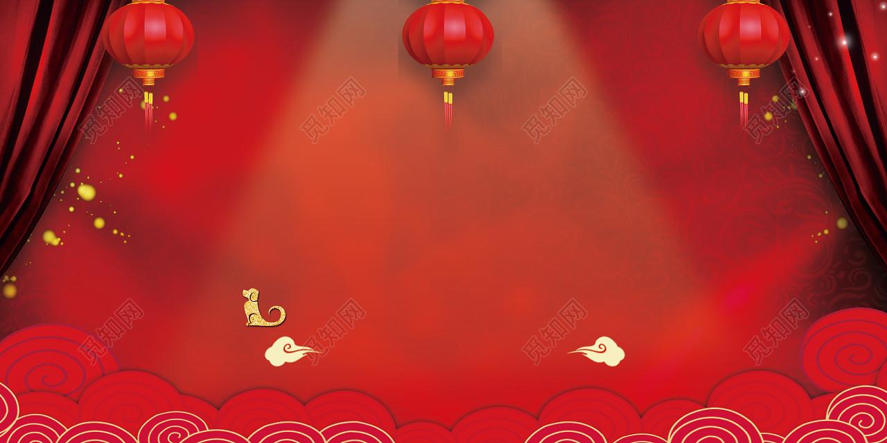 红色喜庆光线红布灯笼2019新年猪年新春联谊会海报背景图片