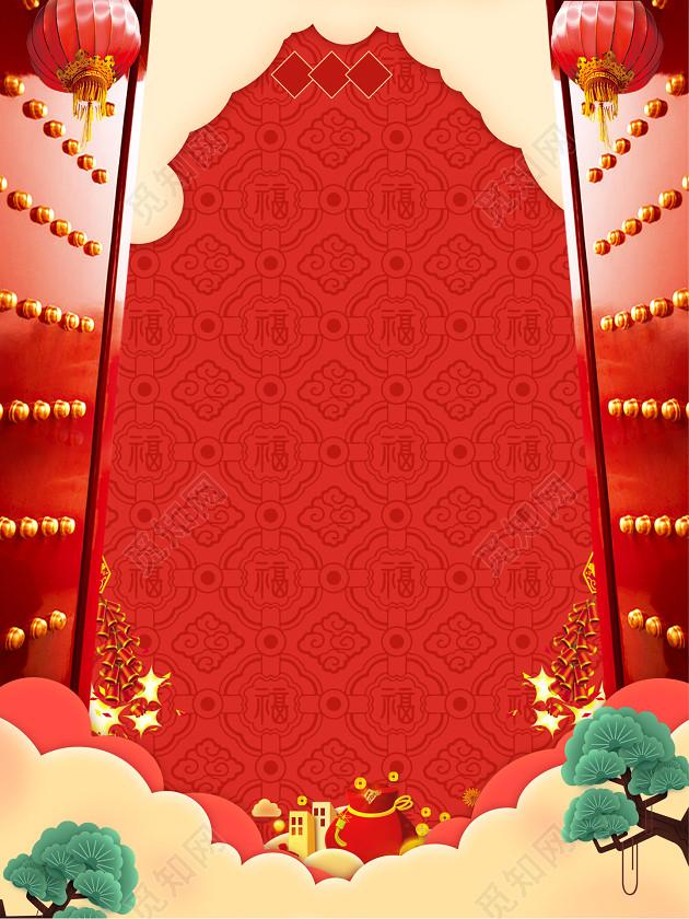 中国风开门边框祥云树纹理2019开工大吉开业大吉新年猪年海报背景
