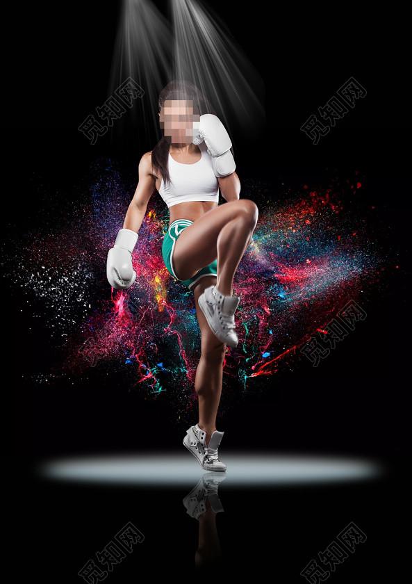 黑色背景一个在健身的女人运动海报背景宣传图