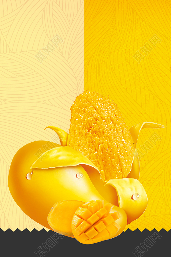 (独家) 下载jpg下载psd 背景素材 黄色背景黄色芒果水果海报宣传背景