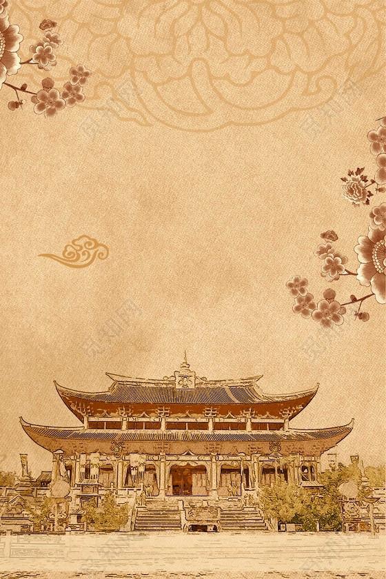 做舊手繪中國風上新了故宮文創中國博物館黃色海報背景